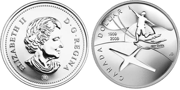 2009 Brilliant Uncirculated Silver Dollar Coin - 100th Anniversary of Flight in Canada