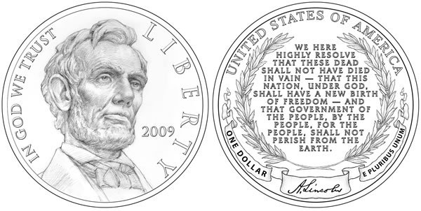 Abraham Lincoln Commemorative Silver Dollar designs