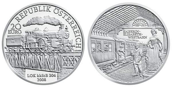 Austrian 20-Euro Empress Elisabeth Railway Silver Commemorative Coin