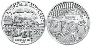 Austria 20-Euro Empress Elisabeth Railway Silver Commemorative Coin