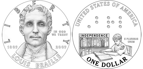 Louis Braille Silver Dollar Coin Designs
