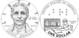 Thumb of Louis Braille Bicentennial Silver Dollar Coin Designs