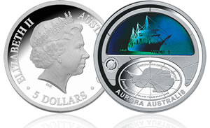 2009 $5 Silver Proof – Aurora Australis coin (thumb)