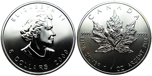 2009 Canadian Maple Leaf Silver Coin