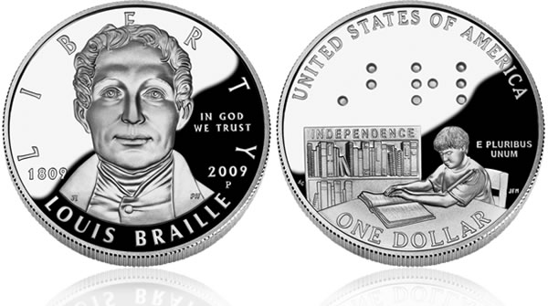2009 Louis Braille Bicentennial Silver Dollar Proof Coin