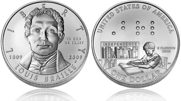 2009 Louis Braille Bicentennial Silver Dollar Uncirculated Coin