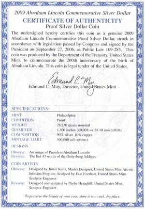 Abraham Lincoln Silver Dollar Coin Specifications on US Mint Certificate of Authenticity