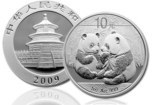 China 2009 Panda Silver Brilliant Uncirculated coin - thumb
