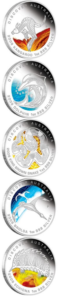Discover Australia The Dreaming Series 2009 Silver Coins