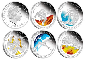 Discover Australia The Dreaming Series 2009 Silver Coins - Thumbnails