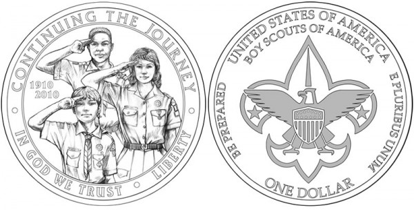 2010 Boy Scouts Silver Dollar Designs - Click to Enlarge