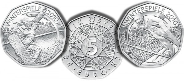 Austrian Mint 2010 Winter Olympic 5 euro Ski Jumping and Snowboarding Silver Coins - Click to Enlarge