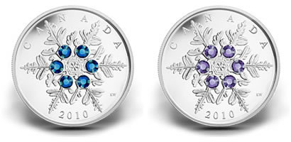 Canadian 2010 Crystal Snowflake Silver Coins