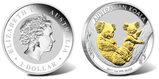 2011 Gilded Koala Silver Coin
