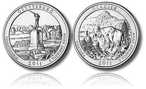 Gettysburg and Glacier Silver Coins