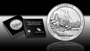 The United States Mint sent the following image of the 2010-P Yosemite National Park 5 Ounce Silver Uncirculated Coin within an e-mail to customers promoting the coin's  release.