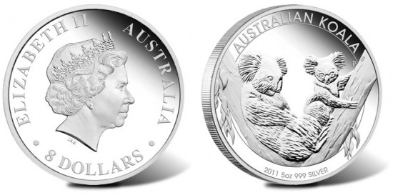 2011 Australian Koala 5 Ounce Silver Proof Coin