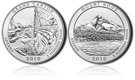 Grand Canyon and Mount Hood 5 Ounce Silver Uncirculated Coins