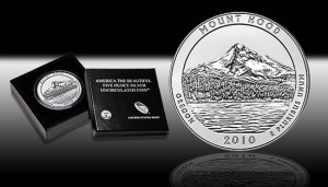 U.S. Mint image of the 2010-P Mount Hood 5 Ounce Silver Uncirculated Coin