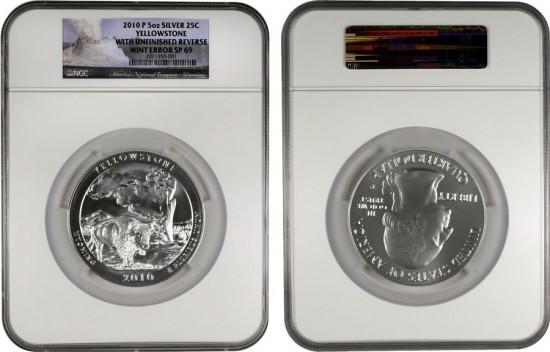 2010-P Yellowstone National Park Five Ounce Silver Uncirculated Coin Error