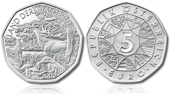 Austrian 2011 5 Euro Land of Forests Silver Coin