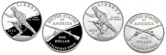 Proof and Uncirculated 2012 Infantry Soldier Silver Dollar Commemorative Coins