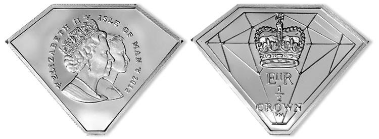 986b70c33 Queen's Diamond Jubilee Silver Coin in Diamond Gemstone Shape | SCT