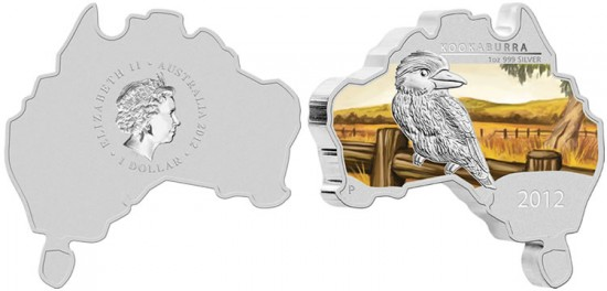 2012 Australian Map Shaped Kookaburra Silver Coin