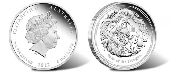 2012 Australian Year of the Dragon 5 Ounce Silver Proof Coin
