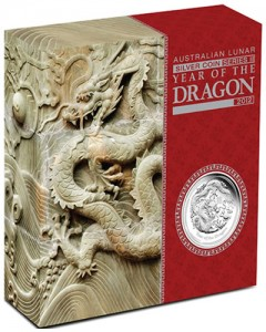 2012 Australian Year of the Dragon 5 Ounce Silver Proof Coin in Shipper