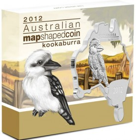 Australian Map Shaped Kookaburra Silver Coin in Shipper