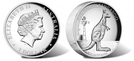 2012 Australian Kangaroo High Relief Silver Coin