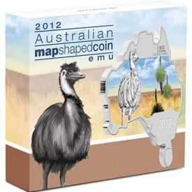 Australian Map Shaped Emu Silver Coin in Shipper