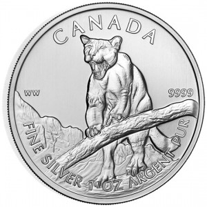 Canadian Wildlife 2012 Canadian Cougar Silver Bullion Coin