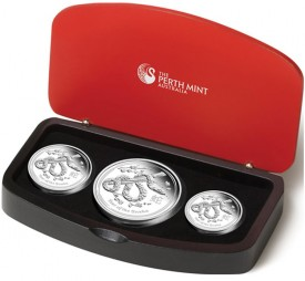 2013 Year of the Snake Silver Proof Three-Coin Set