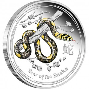 Australian 2013 Year of the Snake Colored Silver Coin