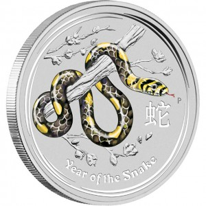 Australian 2013 Year of the Snake Gemstone Silver Coin
