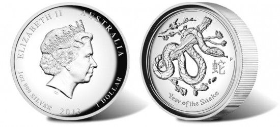 Australian 2013 Year of the Snake High Relief Silver Proof Coin