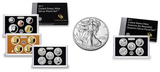 2011 Silver Proof Set, 2011 Silver Eagle and 2011 Quarters Silver Proof Set