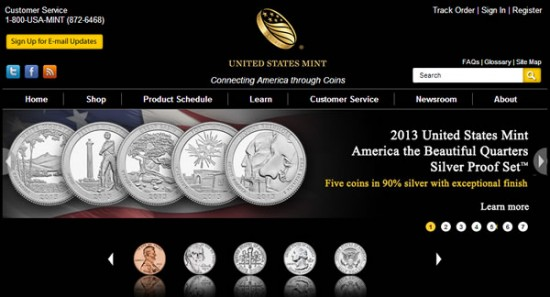 2013 America the Beautiful Quarters Silver Proof Set on Web