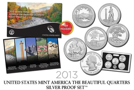 2013 US Mint America the Beautiful Quarters Silver Proof Set