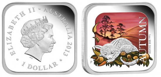 2013 Autumn Silver Proof Square Coin