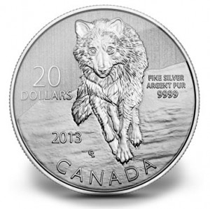 Canadian 2013 $20 Silver Wolf Commemorative Coin