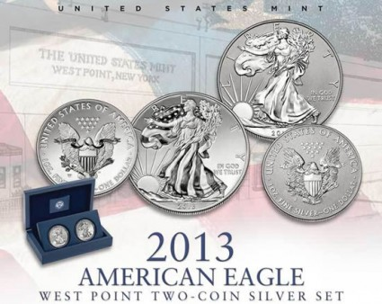 US Mint Promotion Image of the 2013 American Eagle West Point Two-Coin Silver Set