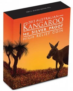 2013 Australian Kangaroo High Relief Silver Coin in Shipper