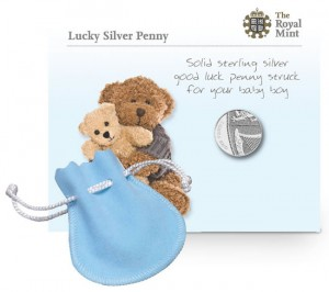 2013 Lucky Silver Penny in Blue Pouch for Boys