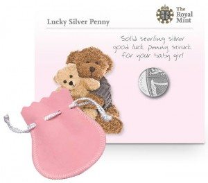 2013 Lucky Silver Penny in Pink Pouch for Girls