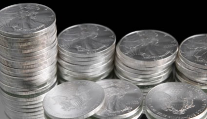 Stacks of American Silver Eagles bullion coins