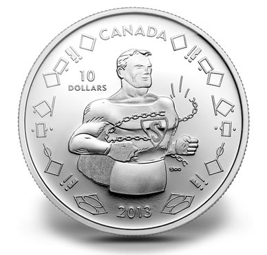 Canada 2013 $10 75th Anniversary of Superman Vintage Pure Silver Coin Proof