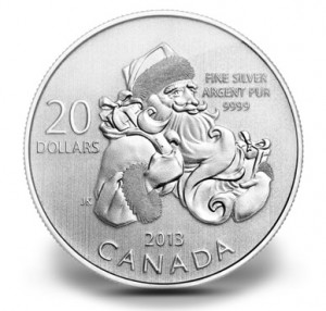 Canadian 2013 $20 Santa Commemorative Silver Coin